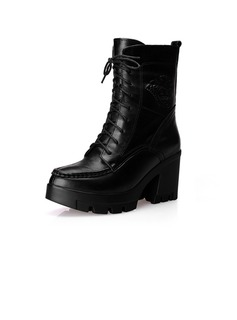 Real Leather Chunky Heel Ankle Boots Martin Boots With Lace-up shoes