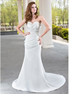 Sheath/Column Sweetheart Court Train Satin Wedding Dress With Ruffle Beadwork