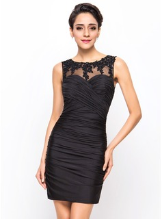 Sheath/Column Scoop Neck Short/Mini Tulle Jersey Cocktail Dress With Ruffle Beading Appliques Lace Sequins