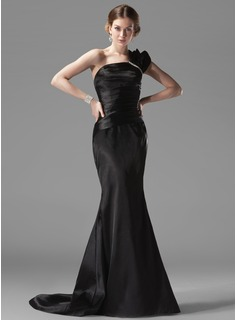 Mermaid One-Shoulder Court Train Charmeuse Evening Dress With Ruffle Beading (017002536)