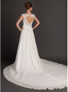 A-Line/Princess Square Neckline Cathedral Train Chiffon Wedding Dress With Ruffle Lace Beading Flower(s)