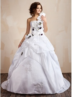 Ball-Gown One-Shoulder Court Train Taffeta Wedding Dress With Lace Beading Flower(s) Sequins Cascading Ruffles