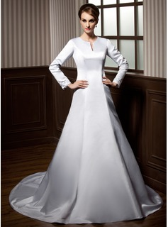 A-Line/Princess Scoop Neck Chapel Train Satin Wedding Dress With Beading Appliques