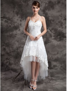 A-Line/Princess V-neck Asymmetrical Organza Tulle Wedding Dress With Lace Beadwork