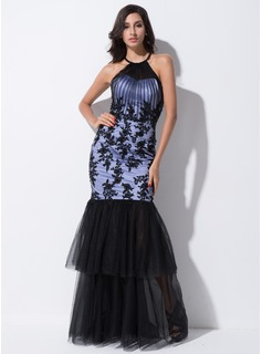 Trumpet/Mermaid Scoop Neck Floor-Length Tulle Evening Dress With Ruffle Lace Beading Sequins