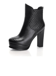 Real Leather Chunky Heel Platform Ankle Boots shoes