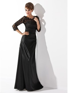 Sheath Scoop Neck Floor-Length Charmeuse Lace Mother of the Bride Dress With Ruffle Beading