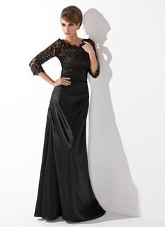 A-Linie/Princess-Linie U-Ausschnitt Bodenlang Charmeuse Spitze Kleid für die Brautmutter mit Rüschen Perlen verziert