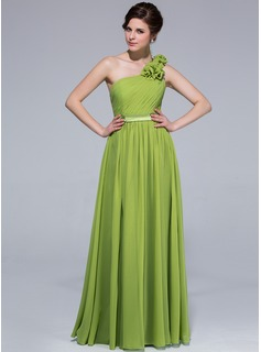 A-Line/Princess One-Shoulder Floor-Length Chiffon Charmeuse Prom Dress With Ruffle Flower(s)