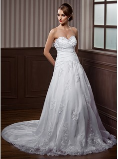 A-Line/Princess Sweetheart Watteau Train Taffeta Organza Wedding Dress With Ruffle Beading Appliques Lace Bow(s)