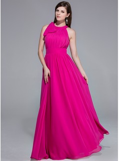 A-Line/Princess Scoop Neck Floor-Length Chiffon Evening Dress With Ruffle Inspired by 84th Oscar