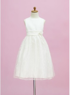A-Line/Princess Scoop Neck Floor-Length Organza Satin Flower Girl Dress With Embroidered Flower(s) (010005334)