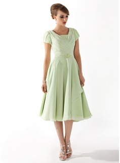 A-Line/Princess Square Neckline Tea-Length Chiffon Mother of the Bride Dress With Ruffle Beading (008005918)