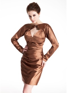 Sheath/Column Scoop Neck Short/Mini Charmeuse Cocktail Dress With Ruffle Beading