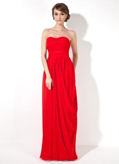 Sheath/Column Sweetheart Floor-Length Chiffon Evening Dress With Ruffle