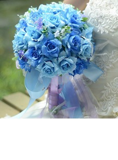 Graceful Round Satin Bridal Bouquets