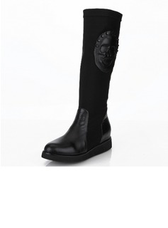 Real Leather Flat Heel Mid-Calf Boots With Rivet Zipper Others shoes (088040919)