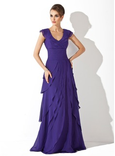 A-Line/Princess V-neck Sweep Train Chiffon Evening Dress With Ruffle (017020663)