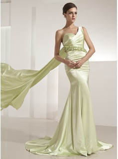 Mermaid One-Shoulder Watteau Train Charmeuse Evening Dress With Ruffle Beading (017014221)