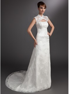 A-Line/Princess Strapless Court Train Satin Tulle Wedding Dress With Lace Beadwork (002000178)
