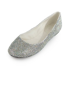 Patent Leather Flat Heel Flats Closed Toe With Rhinestone shoes