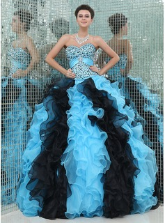 Ball-Gown Sweetheart Floor-Length Organza Satin Quinceanera Dress With Beading Cascading Ruffles (021017443)