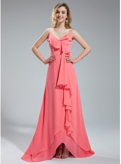 A-Line/Princess V-neck Asymmetrical Chiffon Bridesmaid Dress With Ruffle
