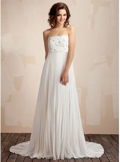 Empire Strapless Court Train Chiffon Wedding Dress With Lace Beading Pleated