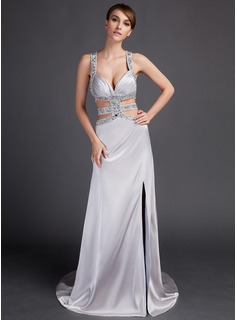 Sheath Watteau Train Charmeuse Prom Dress With Beading
