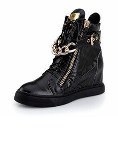 Real Leather Low Heel Ankle Boots With Chain shoes (088040893)