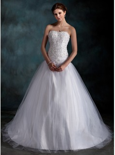 Ball-Gown Sweetheart Court Train Taffeta Tulle Wedding Dress With Ruffle Lace Beadwork