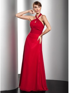 A-Line/Princess Halter Floor-Length Chiffon Evening Dress With Ruffle (017014553)