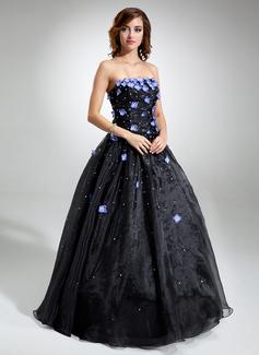 Corte de baile Estrapless Vestido Organdí Vestido de quinceañera con Bordado Flores Lentejuelas