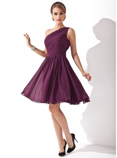 A-Line/Princess One-Shoulder Knee-Length Chiffon Bridesmaid Dress With Ruffle (007000918)