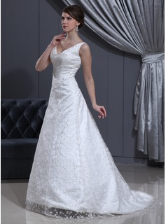 A-Line/Princess V-neck Sweep Train Satin Lace Wedding Dress With Beading