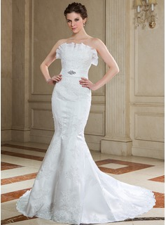 Trumpet/Mermaid Scalloped Neck Court Train Organza Satin Wedding Dress With Lace Beading Sequins
