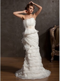 Sheath/Column Scalloped Neck Court Train Organza Satin Wedding Dress With Ruffle Lace Sash Beadwork