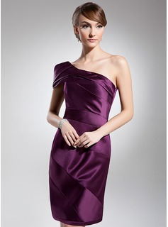 Sheath One-Shoulder Knee-Length Satin Cocktail Dress With Ruffle (016014695)