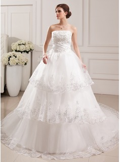 Ball-Gown Strapless Cathedral Train Satin Tulle Wedding Dress With Lace Beading