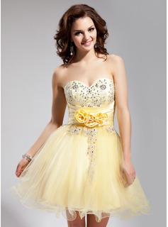 A-Line/Princess Sweetheart Short/Mini Tulle Charmeuse Homecoming Dress With Embroidered Ruffle Beading Flower(s) Sequins (022008628)
