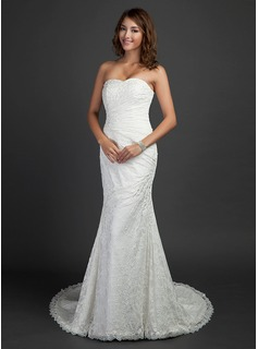 Mermaid Sweetheart Court Train Satin Lace Wedding Dress With Ruffle Beadwork