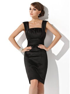Sheath Square Neckline Knee-Length Satin Cocktail Dress With Ruffle