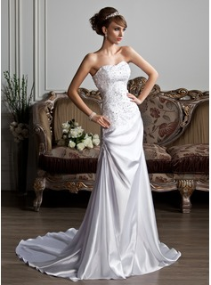 A-Line/Princess Sweetheart Court Train Charmeuse Wedding Dress With Ruffle Lace Beading Sequins