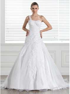 A-Line/Princess One-Shoulder Court Train Organza Satin Wedding Dress With Lace