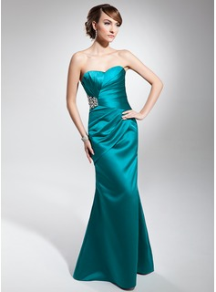 Mermaid Sweetheart Floor-Length Satin Evening Dress With Ruffle Beading (017014678)