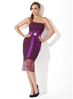 Sheath Sweetheart Knee-Length Chiffon Charmeuse Lace Cocktail Dress With Ruffle Sash Crystal Brooch