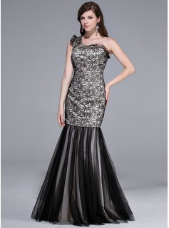 Trumpet/Mermaid One-Shoulder Floor-Length Tulle Charmeuse Prom Dress With Lace Cascading Ruffles (018044057)