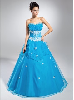 Ball-Gown Scalloped Neck Floor-Length Organza Quinceanera Dress With Lace Beading Sequins Cascading Ruffles