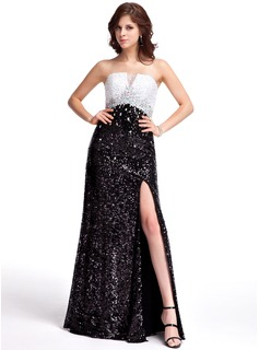 A-Line/Princess Strapless Floor-Length Sequined Evening Dress With Beading Split Front