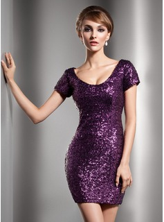 Sheath Scoop Neck Short/Mini Sequined Cocktail Dress (016006687)